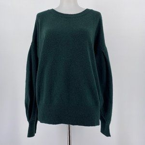 1. State Sweater Solid Emerald Green Puff Sleeve